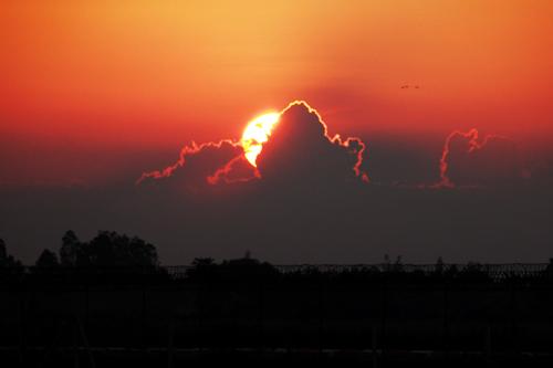 シェムリアップ空港近辺からの夕日